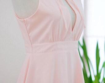 Pink blush dress Pink dress summer sundress Pink party dress Pink prom dress Pink bridesmaid dress ruffle neck Pink prom dress Pink sundress