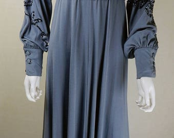 Original Designer Vintage 1970s Jean Varon Empire Line Maxi Dress UK Size 8/10