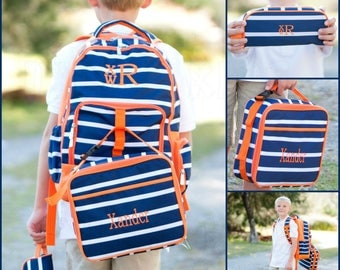 Boy Navy Stripe Backpack, Matching Lunchbox and Pencil Case can be purchased, Monogram Included