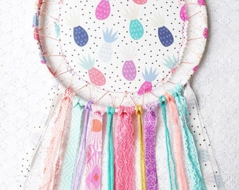 Large Pineapple Dream Catcher, Bedroom Decor, Turquoise & Pink Rainbow, Summer Vibes Birthday Party, Tropical Fun Dreamcatcher