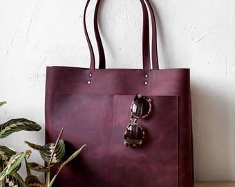 Xmas SALE Large Burgundy Distressed Leather Tote bag No. LPB-10881