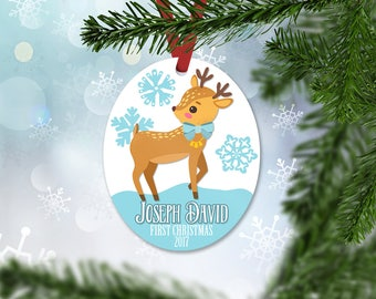 Personalized First Christmas Ornament, Baby Boy Keepsake Ornament, Baby's 1st Christmas, Christmas Deer Fawn, Christmas Gift (027)