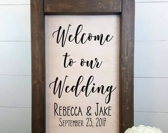 Welcome to our Wedding - Personalized - Rustic Wedding Sign, Made to Order