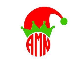Elf Hat Christmas Monogram SVG or Silhouette Instant Download