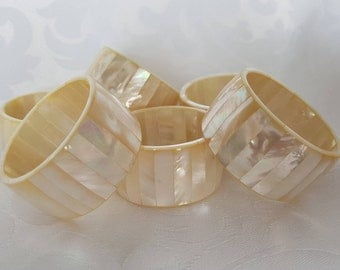 Mother of Pearl Napkin Rings Set of 6, MOP Napkin Rings, Napkin Rings, White Napkin Rings