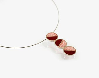 Sterling Silver Pendant , Divided Circles, Pink and Red, Minimal, Modern Design, Contemporary Jewelry
