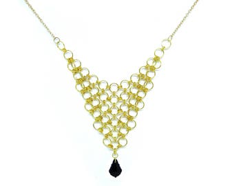 Black Crystal Pendant with Gold Chainmaille Statement Necklace