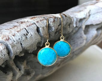 Small Gold Turquoise Earrings