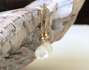 Mother of Pearl Tear Drop Earrings in Gold or Silver