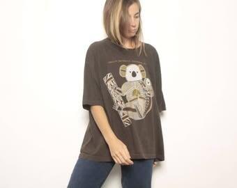 vintage KOALA brown boxy FADED short sleeve t-shirt top AUSTRALIA
