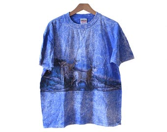 Vintage 90's Blue Marbled Deer T-shirt Branson Missouri Size Large