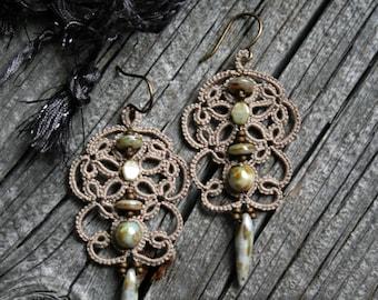 Artisan Tatting Czech Glass Beads Dangle Lightweight Beige Earrings
