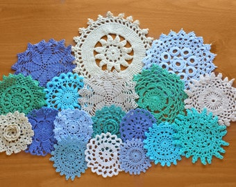 18 Vintage Doilies in Greens, Blues, White, and Cream Colors, Hand Dyed 2 to 5 inch Craft Doilies, Small Crochet Mandalas