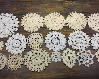 18 Imperfect Vintage Crochet Doilies, Small Doilies for Crafts, Stamping, Pottery, and More, Crochet Mandalas, Damaged Condition