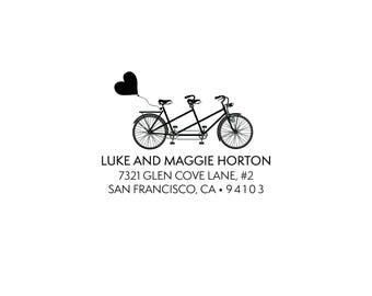 Self Inking or Rubber Stamp Invitation Personalized Custom Return Address Stamp Stationery Heart Bike Tandem Heart Balloon Favor Home Sweet