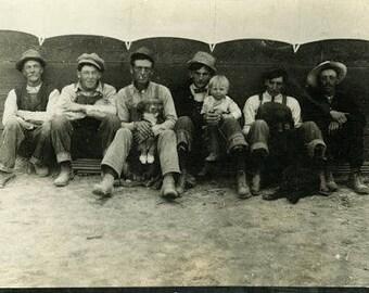 "Vintage Photo ""Family of Boys and Pups"" Snapshot Antique Black & White Photograph Paper Found Ephemera Vernacular Interior Design Mood - 101"
