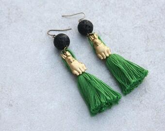 Kelly Green Tassel, Lava Stone, and Brass Bunny Earrings // Essential Oil Diffuser Jewelry // Festival Jewelry // Colorful Tassel Earrings