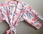 1/2 OFF READY to SHIP Medium Pink Floral Kimono Robe. Pink Floral Kimono. Dressing Gown. Pink Bridesmaid Robes. Suzanne's Garden Navy.