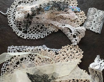 Set of vintage lace and trim, along with a doily
