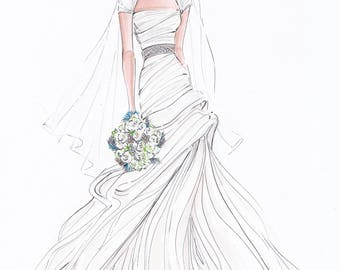 Custom fashion illustration - Custom bridal sketch - wedding gift - anniversary gift - bridal illustration - bride - custom bride - FRONTAL