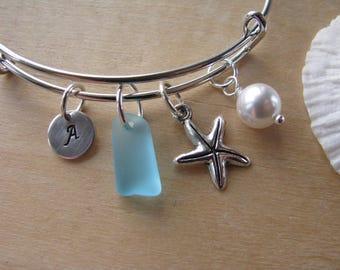 Turquoise Blue sea glass bracelet adjustable aqua bridesmaid bracelet starfish jewelry letter beach wedding personalized bridesmaid gift