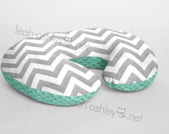 Boppy® Cover, Nursing Pillow Cover - GRAY Chevron Minky with MINT Minky Dot or Minky Smooth - Choose Your Minky Type - BC2