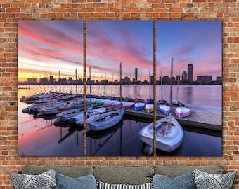 Boston Skyline with Sailboats at Sunrise on Canvas, Boston Art, Boston  Photo, Large Wall Art, Boston Wall Art, Boston Harbor, Boston Canvas