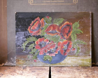 Vintage Original Floral Painting on Board - Red and Green Holiday Decor - Amateur Art