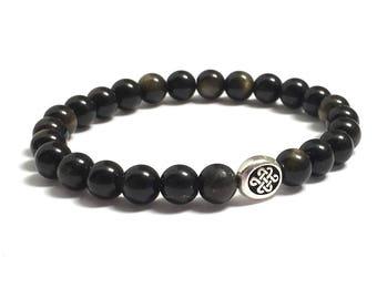 Celtic Infinity Endless Knot Bracelet, HIs and Hers Eternity Couples Bracelets, Obsidian Beaded Bracelet, Women Mens Inspirational Jewelry