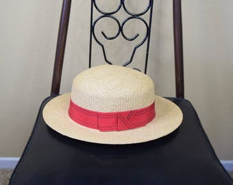Vintage Straw Boater Hat with Red Ribbon Womens