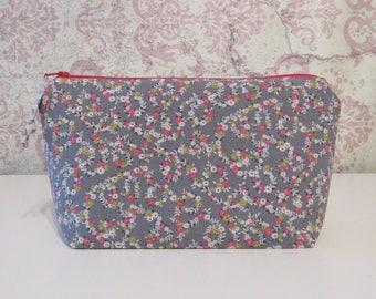 Retro Floral Zipper Pouch in Gray, Hot Pink, Olive // Cotton Cosmetic & Travel Pouch