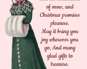 Christmas Card ~ Winter Is Here With An Abundance Of Snow ~ Christmas Postcard ~ Merry Christmas ~ Jane Austen Fashion ~ Holiday Greetings