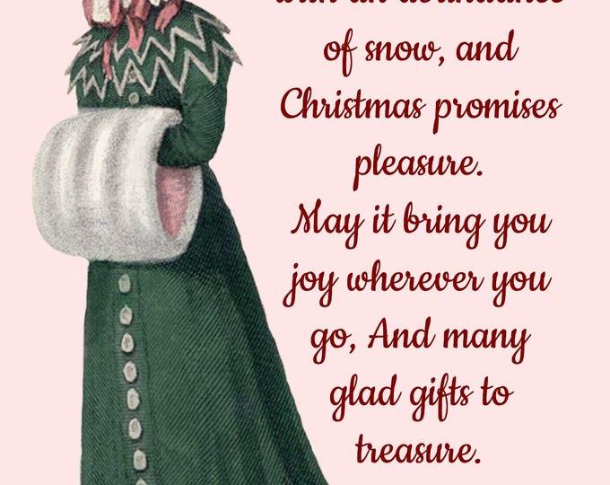 Christmas Card ~ Winter Is Here With An Abundance Of Snow ~ Christmas Postcard ~ Merry Christmas ~ Jane Austen Fashion ~ Holiday Greetings