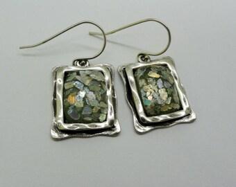 Antique Elegant Long Earrings, Handmade 925 sterling Silver Roman Glass oblong Earrings, Roman Glass Earrings, Gift fot Mom, Ready To Ship