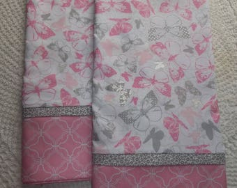 Pink Gray Butterflies| Butterfly Pillowcases|/Standard pillowcases love Pair romantic bed linens bedding nature cottage chic