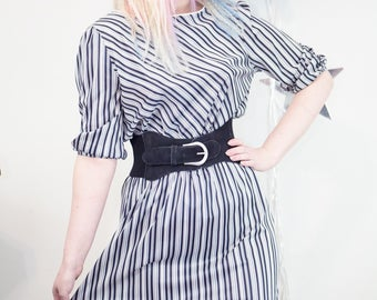 Vintage 1980s Black and White Pinstriped Striped Secretary Dress, Vintage Secretary Dress, 80s Secretary Dress, 80s Striped Dress, 1980s