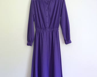 1980s swingy, sparkly electric purple housedress - medium