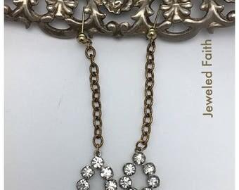 Rhinestone Earrings Vintage Assemblage Earrings Shoulder Dusters long earrings