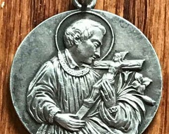 "Saint GERARD of MAJELLA Vintage Silver Religious Medal Religious Jewelry on 18"" sterling silver rolo chain"