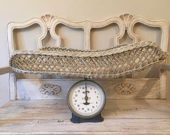 Antique Wicker Baby Scale - Dark Blue - Beautiful Nursery or Shower Decor or Photo Prop