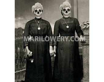Creepy Art Print, Halloween Decor, Skull Art Print, Black and White, Twin Sisters, Day of the Dead, Horror Art