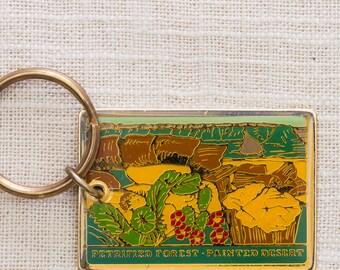 Petrified Forest Painted Desert Vintage Keychain Arizona National Park US Landmark Key FOB Brass Key Chain 7KC