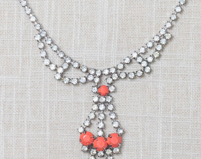Handcrafted Necklace Rhinestone Coral Ombre Hand Painted Chandelier Bib Choker 7HH