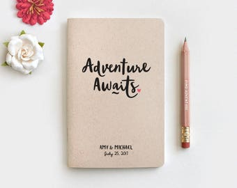 Wedding Gift for Couple, Adventure Awaits Personalized Notebook & Pencil, Anniversary Engagement Gift Personalized Journal