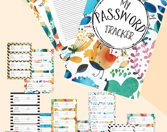 Password keeper. Password tracker. Hand doodled font. Calligraphy. water colors INSTANT download. Digital Printable