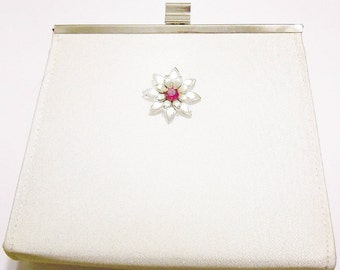 Purse Clutch Off White Silver Trim Red and Clear Rhinestone Brooch Redesigned Assemblage Bridal Wedding Gift Guide Women