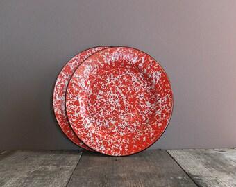 Vintage Red & White Speckled Enamel Plates / Enamel Camping Plates / Enamelware Plates / Camp Cookware