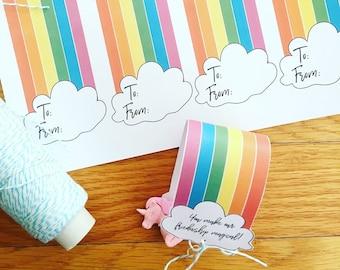 PRINTABLE  Unicorn/Rainbow Valentine Tag : INSTANT DOWNLOAD 8.5x11