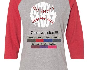 Women's Glitter Softball Mom 3/4 sleeve Shirt