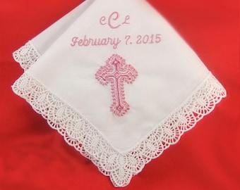 Baptism Gift for Goddaughter Personalized Handkerchief |Baptism Gift for Girl | Christening Hanky H401